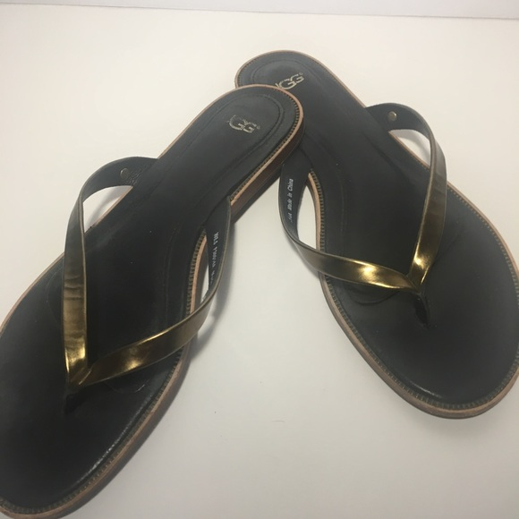 8d599745d4b Ugg Gold leather strap thongs